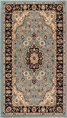 Well Woven Noble Medallion Light Blue Oriental 2×4 2 3 x 3 11 Area Rug Traditional Persian Floral Carpet