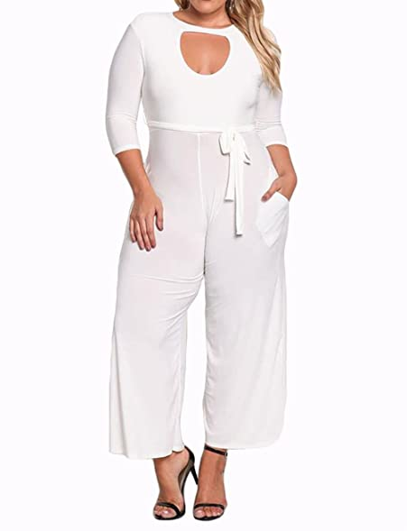 Surfywin Womens Plus Size Cut Out Wide Legged Jumpsuit Fashion