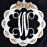 Letter W - Monogrammed Door Hanger | Mom Gift | White and Burlap Everyday Year Letter Door Hanger