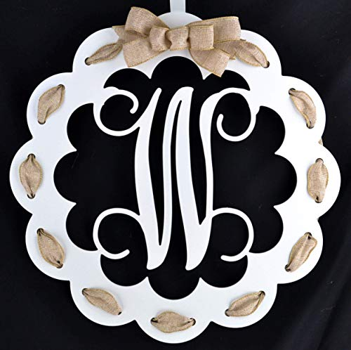 - Letter W - Monogrammed Door Hanger | Mom Gift | White and Burlap Everyday Year Letter Door Hanger