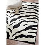 "Zebra Area Rug Animal Skin Print Modern Carpet Black, 5 Feet 3 Inches by 7 Feet 9 Inches (5' 3"" x 7' 9"")"
