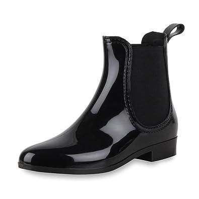 Damen Stiefeletten Schuhe Kurzschaft Chelsea Boots Schwarz 36 k3guk