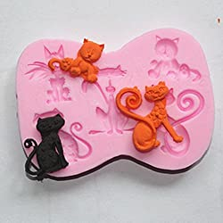 Longzang Cats Silicone Mold Sugar Craft DIY Gumpaste Cake Decorating Clay