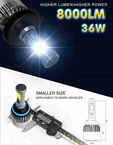 Alla Lighting 8000lm Xtremely Super Bright 6000K Xenon White High Power Mini LED Headlight Conversion Kits Lamps Replacement