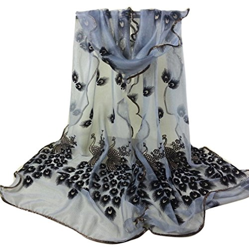 Scarf,Han Shi Women Peacock Flower Long Soft Wrap Shawl Embroidered Lace Shawl Wraps (L, Gray)