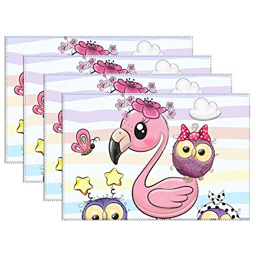 Yilooom Cute Cartoon Flamingo Five Owls Pink Placemat Non-Slip Heat-Resistant Insulation Placemat Washable Table Mats, Set of 4 (Placemat Owl Cork)