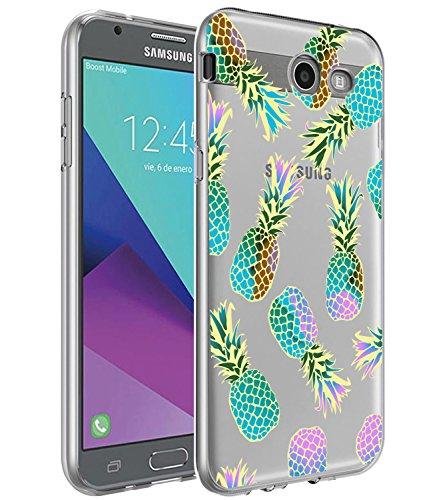 Galaxy J7 V Case,Galaxy J7 Prime Case, BAISRKE Slim Shockproof Clear Color Pineapples Soft Flexible TPU Back Cove for Samsung Galaxy J7 V/J7 2017/J7 Prime/J7 Perx/J7 Sky Pro/Galaxy Halo