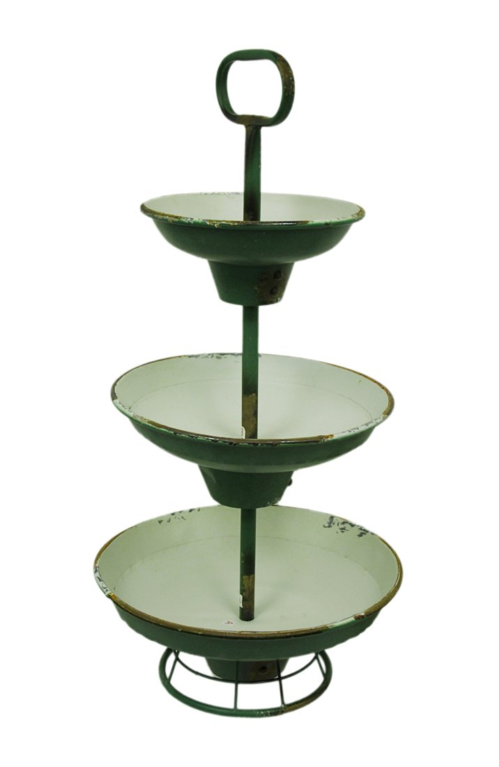 Metal Tiered Display Stands Green And White Rustic Metal 3 Tier Tray Stand 15.25 X 30.5 X 15.25 Inches Green Model # 8T1046