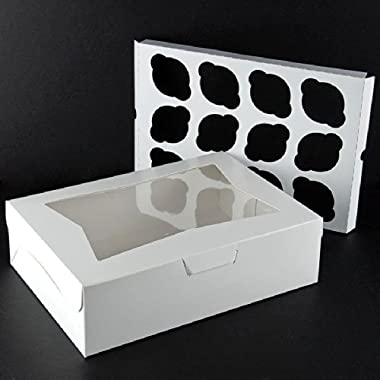 Pack of 10 White Cupcake Box with Window holds 12 INSERTS Included