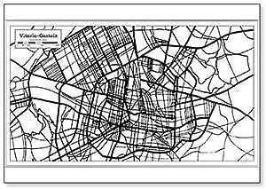 Vitoria Gasteiz mapa de la ciudad de España en estilo retro. Imán clásico para nevera: Amazon.es: Hogar
