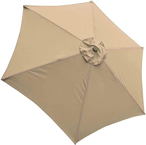 LeeMas Inc co 9ft Tan 6 Ribs Patio Umbrella Replacement Canopy Deck Cover Top Outdoor Yard Bleached Sand UV Blocking 180g/sqm Polyester