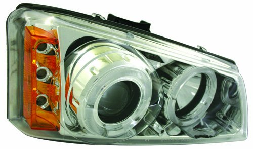 IPCW CWS-337C2 Clear Projector Headlight with Rings, Chrome Housing and Amber Reflector - Pair