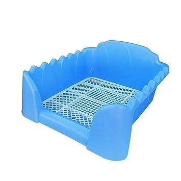 Gfbyq Arena para Gatos Bandeja para el Inodoro para Perros, Cochecito de plástico para Perros de Interior, Entrenamiento con Valla y Objetivo Azul: ...
