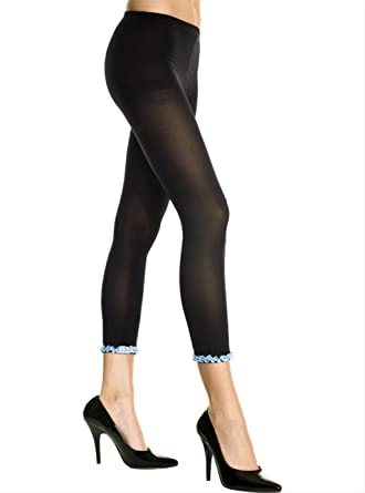 75518a04d0312 Amazon.com: Opaque Footless Leggings with Mini Ruffle Lace Trim ...
