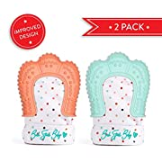 2 Baby Teething Mittens for Babies Self-Soothing Pain Relief and Teething Glove BPA FREE Safe Food Grade Teething Mitt