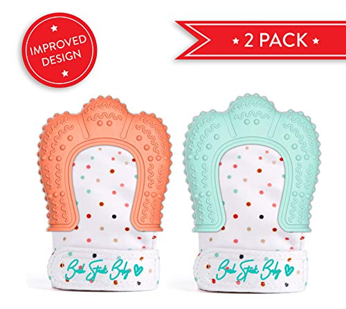 2 Baby Teething Mittens for Babies Self-Soothing Pain Relief and Teething Glove BPA FREE Safe Food Grade Teething Mitt ()