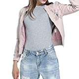Amacok Women Faux Leather Retro Embroidered Bomber Jacket Zip up Regular Fit Fashion Coat Outwear (Pink, L)