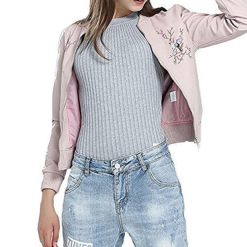 Amacok Women Faux Leather Retro Embroidered Bomber Jacket Zip up Regular Fit Fashion Coat Outwear (Pink, L) by Amacok