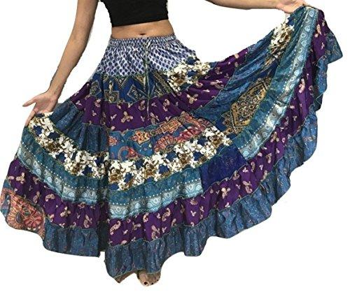 Dancers World Ltd (UK Seller) 1-7 Yard Tribal Gypsy Maxi Tiered Skirt Belly Dancing Skirts Silk Blend Banjara Fits S M L XL (Assorted)]()