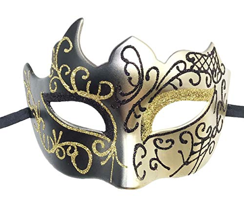 Biruil Masquerade Mask Venetian Costume Prom Party Mardi Gras Face Halloween Ball Mask (A -