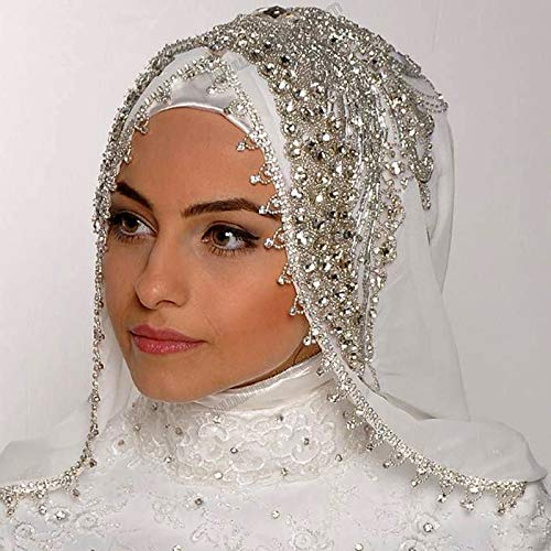 Sewing Beads Crystal Veils Custom Made Color Length Wide Muslim Veils Hijab One Layer Handy Made Wedding Veil LW-107 Pink