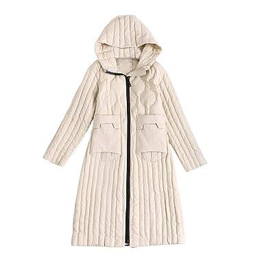 YZ-HOD Chaqueta ligera de abajo para mujer Deportes al aire libre Chaqueta larga con capucha Abrigos de invierno ideales Diseño con cremallera Mantener ...