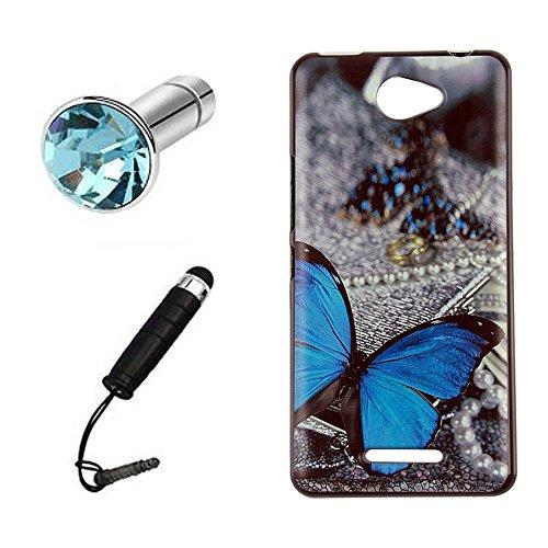 Lusee® Funda de silicona para BQ Aquaris U / U Lite Suave Cascara TPU mariposa azul