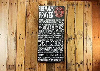 Firefighter Gift Firemans Prayer Firefighter Sign Gift for Him Wood Signs  with Quotes Firefighter Decor Firefighter Art Wall 61 cm H x 27 9 cm W