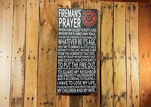 Adonis554Dan Firefighter Gift Firemans Prayer Firefighter Sign Gift for Him Wood Signs with Quotes Firefighter Decor Firefighter Art Wall 61 cm H x 27.9 cm -