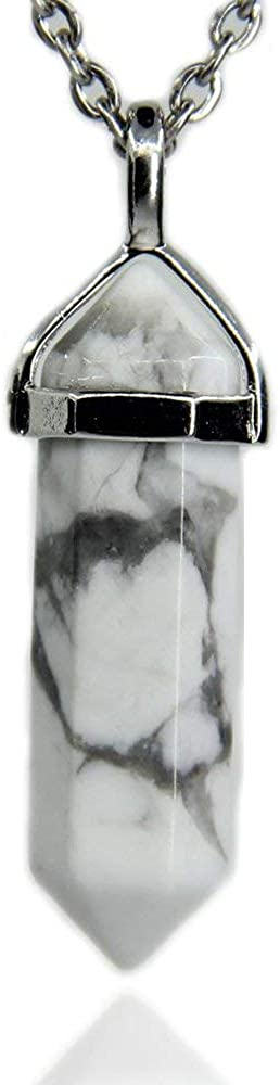 Angelstones Gemstone Hexagonal Pointed Reiki Chakra Pendant Necklace 18