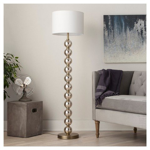 Glass Floor Lamp (Stacked Ball Floor Lamp - Mercury Glass (Includes CFL Bulb) - Threshold™)