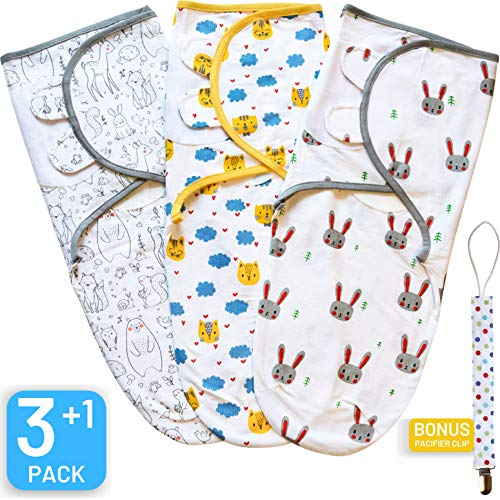 Swaddle Blanket, Baby Swaddle Wrap Sack for Infant (0-3 Month), Adjustable Newborn Swaddle Set, 3 Pack Soft Organic Cotton with Bonus Pacifier Clip, Cute Animals