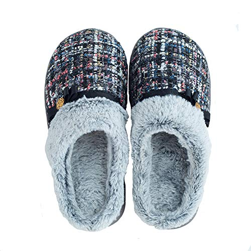 Mens Womens House Knitted Cotton Plush Slippers Skid for Indoor and Outdoor Use Black/Medium/7-8B(M) US
