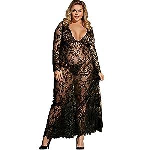 Dean fast Women Plus Size Floral Lace Nightgown Long Lingerie Sleepwear Chemise