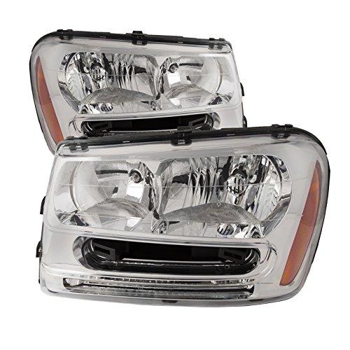 HEADLIGHTSDEPOT Compatible with Chevy Trailblazer New Chrome Housing Headlamps Headlights Set