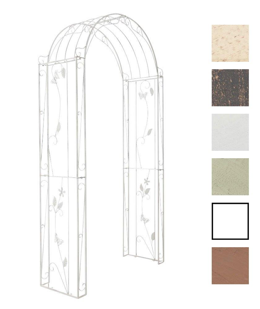CLP verzierter Rosenbogen FLOWERS aus Eisen, Höhe 238 cm, Breite 123 cm, Tiefe 45 cm (aus bis zu 6 Farben wählen) antik weiß
