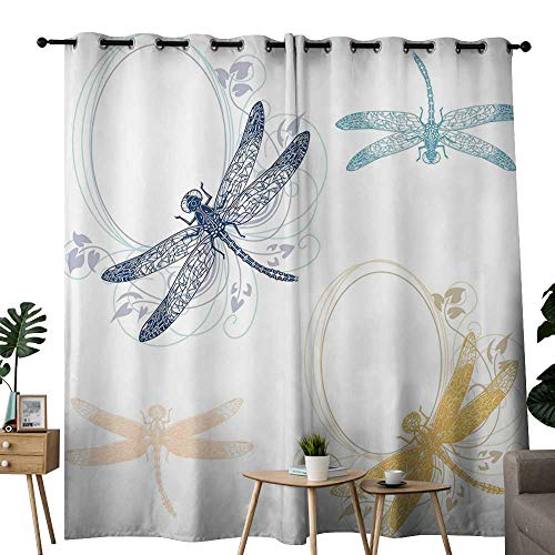 LewisColeridge Bedroom Curtains 2 Panel Sets Dragonfly,Floral Spring Bugs Wings with Flower Petals Animal Nature Elegance Artful Motif,Multicolor,Complete Darkness, Noise Reducing Curtain 52