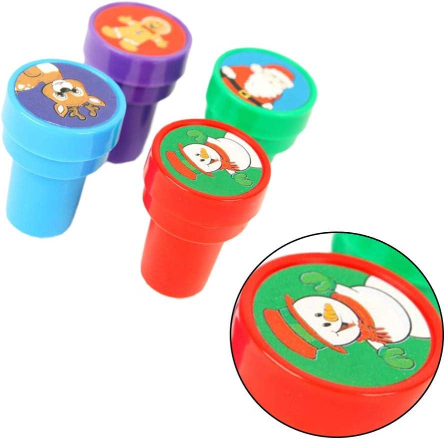 Amosfun Tampons de no/ël Auto-tamponneuses lavables /à lencre pour Enfants Enfants faveur du Parti Maternelle Bricolage Artisanat 4pcs