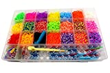 Gift Prod 4400Pcs Colorful Rubber Band Refill Kit for Loom Rainbow Bracelets Dress Making 22 Colors Rainbow Rubber Band 1 Big Hook,6 Small Hook,10 Pendants,1 Monster Tailloom Board,2 Y-shape (Style 1)