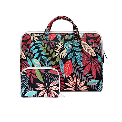 - 13 inch Canvas Laptop Bag Waterproof Laptop Sleeve Bag Laptop Briefcase for 11 inch to 13 inch Laptop and MacBook Pro Laptop Case-Colorful Leaves
