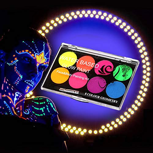 FANICEA UV Glow Black Light Face and Body Paint Set Neon Fluorescent Water Soluble Non-Toxic Face Painting SFX Makeup…