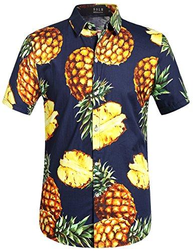 SSLR Mens Pineapple Button Down Short Sleeve Hawaiian Shirt