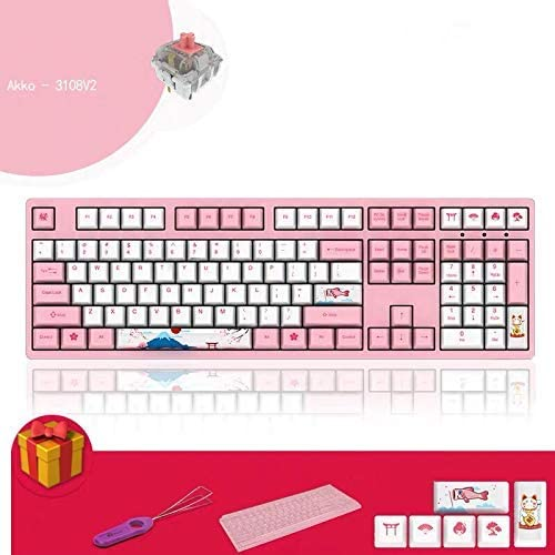 3 V2 Key Keycap Rose commutateur de Type C Clavier Filaire Gaming mécanique (Rose Switch) zhihao (Color : Cherry Pink Switch)
