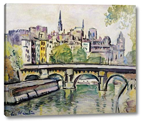 """Le Pont Neuf, Paris by George Leslie Hunter - 19"""" x 23"""" Gallery Wrapped Giclee Canvas Print - Ready to Hang"""
