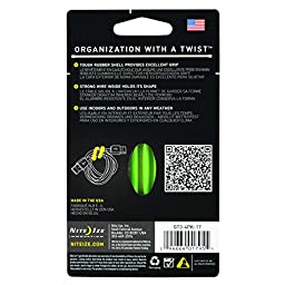 Nite Ize Original Gear Tie, Reusable Rubber Twist Tie, Made in the USA, 3-Inch, Lime, 4 Pack