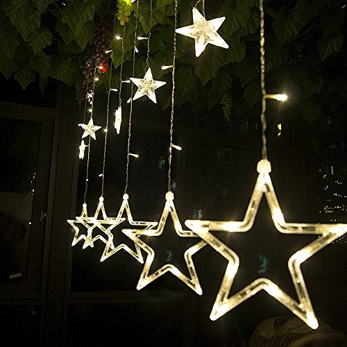 String Lights Curtain,12 Stars 138 Leds String Curtain Lights,3M Hanging Lighting Outdoor Waterproof Linkable Copper Window Lights Decoration For Wedding,Christmas,Holiday,Party,Home(Warm White)