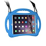[New Design]TopEs iPad Mini Case Kids Shockproof Handle Stand Cover&(Tempered Glass Screen Protector) for iPad Mini, Mini 2, Mini 3 and iPad Mini Retina Models (Blue)
