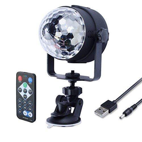 Julitech IR Remote RGB LED Crystal Magic Rotating Ball Stage Light USB 5V Colorful KTV DJ Disco Lamp Party Effect Light