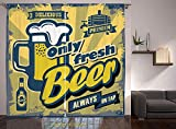 Living Room Bedroom Window Drapes/Rod Pocket Curtain Panel Satin Curtains/2 Curtain Panels/55 x 45 Inch/Man Cave Decor,Delicious Fresh Premium Beer Old Fashion Graphic Design Bottle Keg Mug Foam Decor