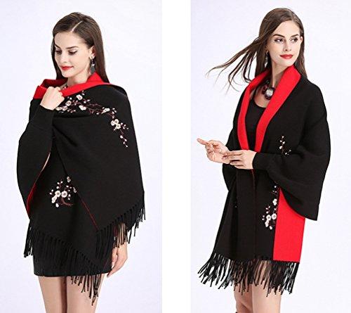 Mujer Abrigo Chal Mujeres Pañuelos Rojo WanYang Suéter De Del De Negro Cárdigan Punto Bordados Para Creativo OqwvCq0